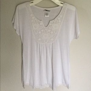 Allison Brittany White Crochet Bibbed Tunic